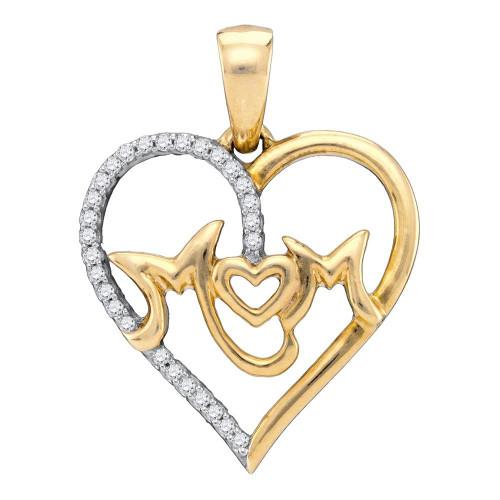 10kt White Gold Womens Round Diamond Mom Mother Heart Pendant 1/10 Cttw