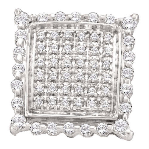 10kt Yellow Gold Womens Round Diamond Square Cluster Stud Earrings 1/2 Cttw - 55027
