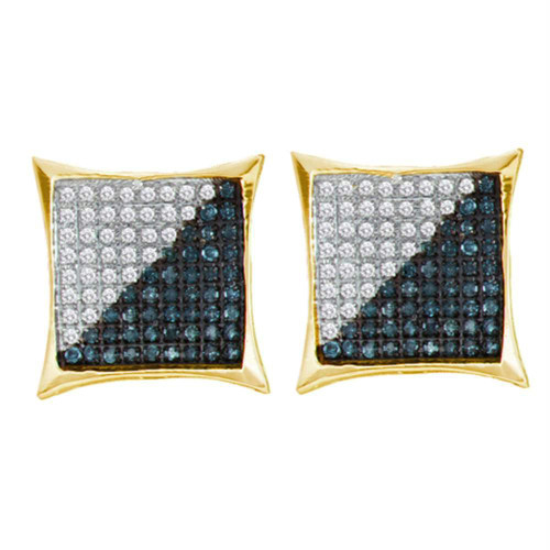 10kt Yellow Gold Mens Round Blue Color Enhanced Diamond Square Kite Cluster Earrings 1/10 Cttw
