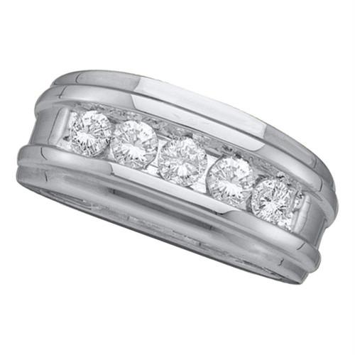 14kt White Gold Mens Round Diamond Wedding Band Ring 1.00 Cttw - 26273-8.5