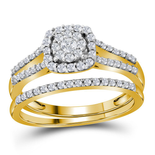 10kt Yellow Gold Womens Round Diamond Split-shank Bridal Wedding Engagement Ring Band Set 1/2 Cttw - 112360-5