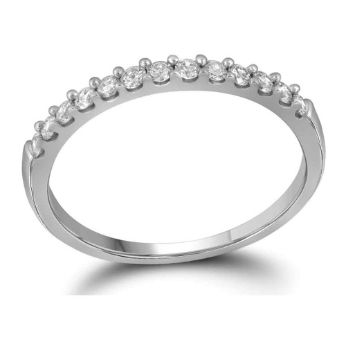 14kt White Gold Womens Round Diamond Slender Wedding Anniversary Band 1/4 Cttw