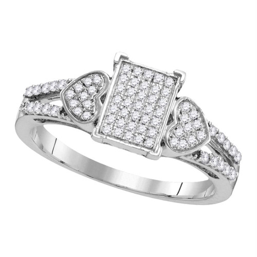 10kt White Gold Womens Round Diamond Double Heart Square Cluster Ring 1/4 Cttw
