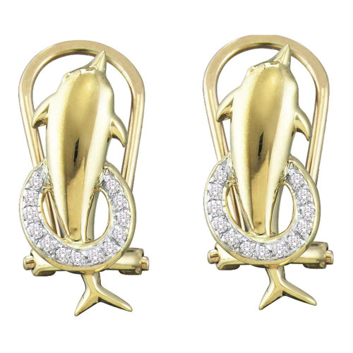 10kt Yellow Gold Womens Round Diamond Dolphin French-clip Stud Earrings 1/12 Cttw