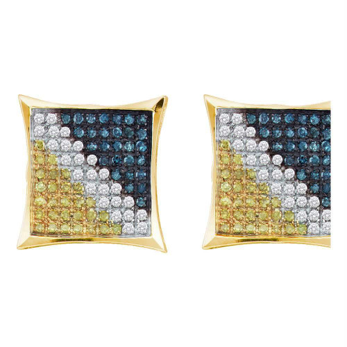 Yellow-tone Sterling Silver Mens Blue Color Enhanced Diamond Square Cluster Earrings 1/6 Cttw