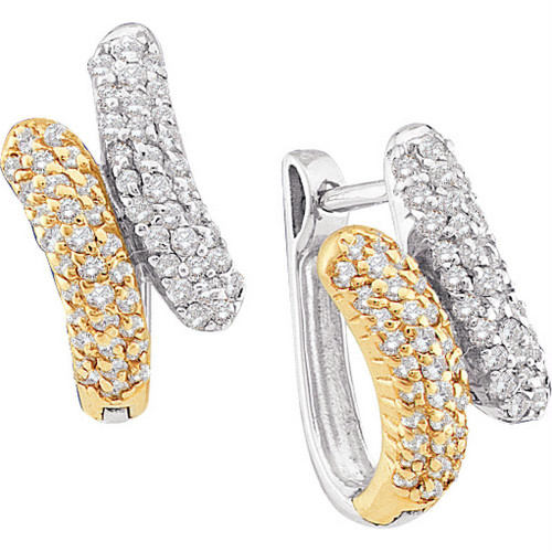 14kt Yellow Gold Womens Round Diamond Two-tone Bypass Huggie Hoop Earrings 1/2 Cttw