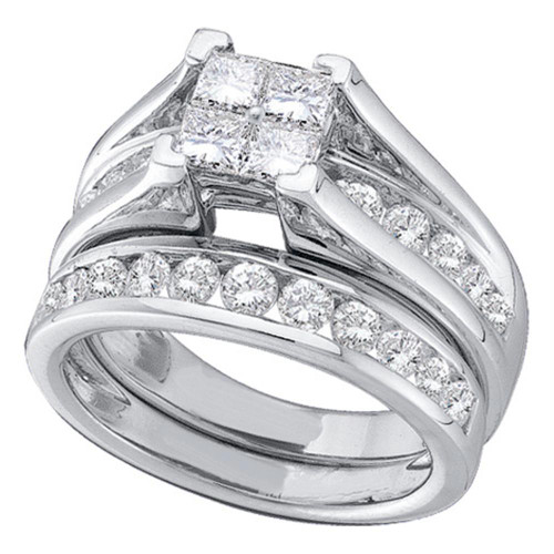 14kt White Gold Womens Princess Diamond Bridal Wedding Engagement Ring Band Set 1/2 Cttw - 96390-7