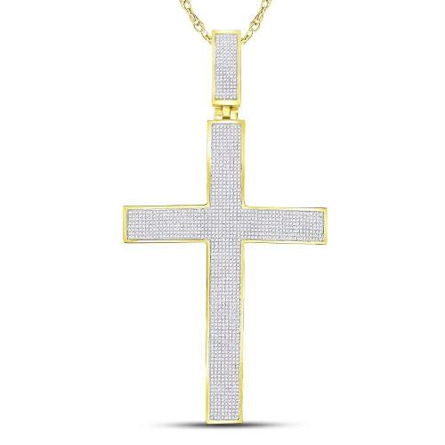 10kt Yellow Gold Mens Round Pave-set Diamond Cross Crucifix Charm Pendant 2-1/4 Cttw