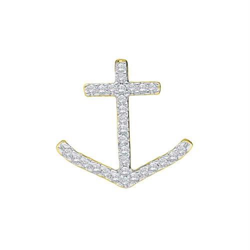 14kt White Gold Womens Round Diamond Anchor Nautical Pendant 1/4 Cttw