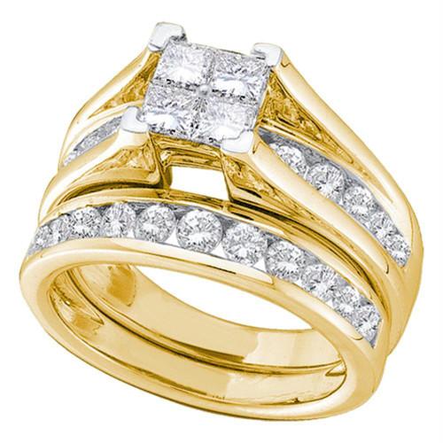 14kt Yellow Gold Womens Princess Diamond Bridal Wedding Engagement Ring Band Set 1/2 Cttw - 96389-7
