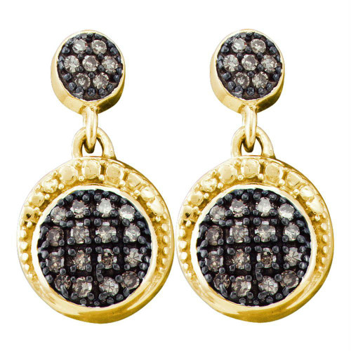10kt Yellow Gold Womens Round Cognac-brown Color Enhanced Diamond Dangle Screwback Earrings 1/4 Cttw