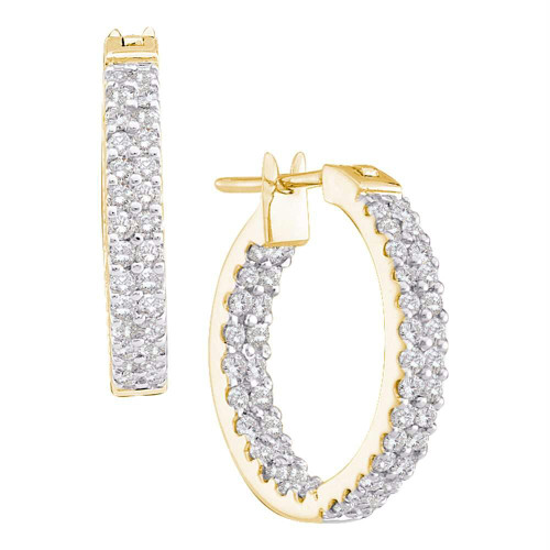14kt Yellow Gold Womens Round Diamond Inside Outside Double Row Hoop Earrings 1.00 Cttw