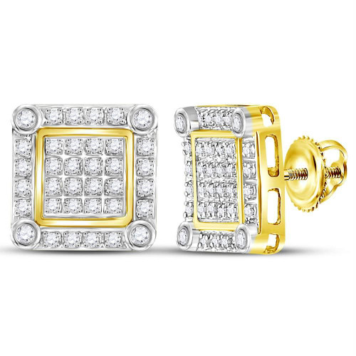10kt Yellow Gold Mens Round Diamond Square Cluster Stud Earrings 1/4 Cttw - 111230