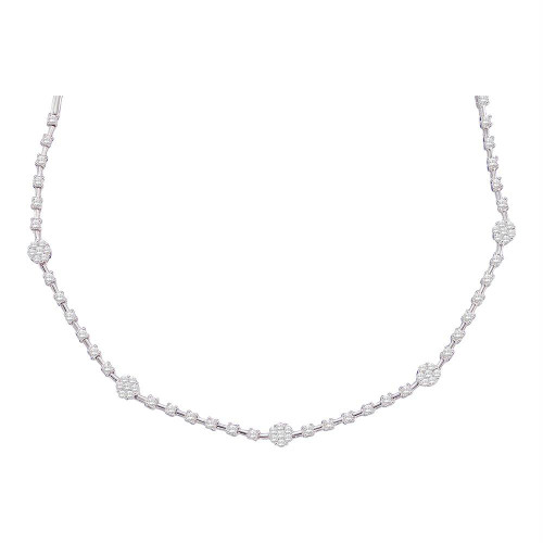 14kt White Gold Womens Round Diamond Cluster Luxury Necklace 1-7/8 Cttw