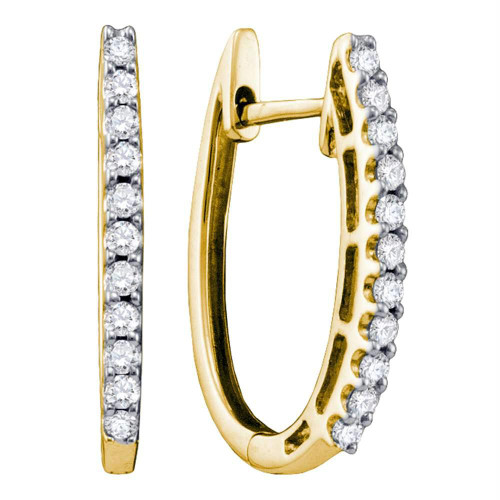 14kt Yellow Gold Womens Round Pave-set Diamond Single Row Hoop Earrings 1/4 Cttw