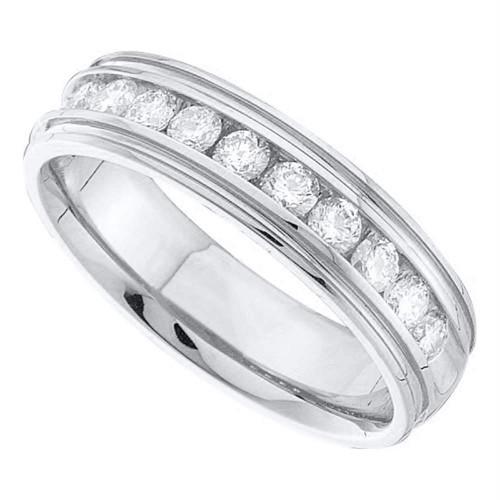 14kt White Gold Mens Round Diamond Wedding Band Ring 1/4 Cttw