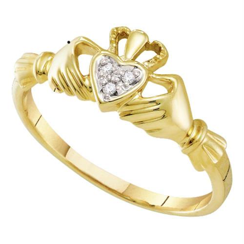 10kt Yellow Gold Womens Round Diamond Claddagh Heart Ring .01 Cttw