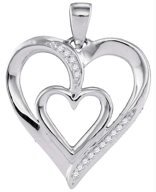 10kt White Gold Womens Round Diamond Double Nested Heart Pendant 1/20 Cttw
