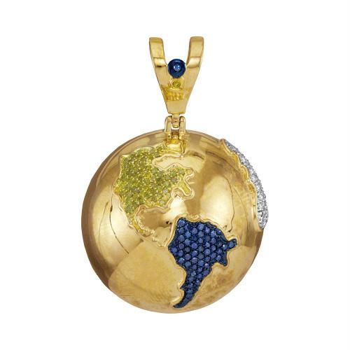10kt Yellow Gold Mens Round Blue Color Enhanced Diamond Globe Planet Earth Charm Pendant 1-1/8 Cttw