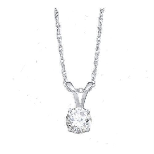 14kt White Gold Womens Round Diamond Solitaire Pendant 1/5 Cttw