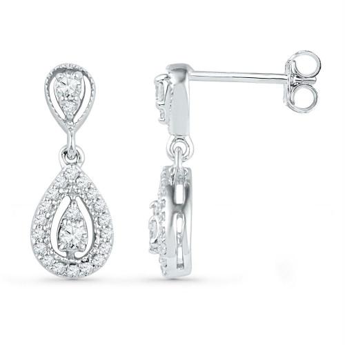 10kt White Gold Womens Round Diamond Teardrop Dangle Screwback Earrings 1/3 Cttw