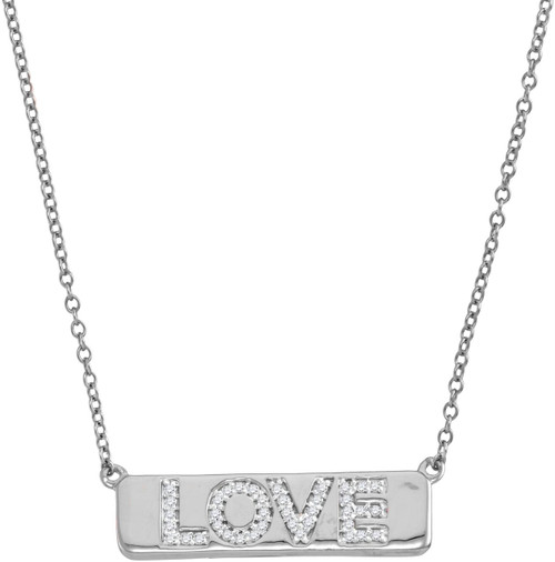 """10kt White Gold Womens Round Diamond Love Bar Pendant Necklace with 18"""" Chain 1/8 Cttw"""