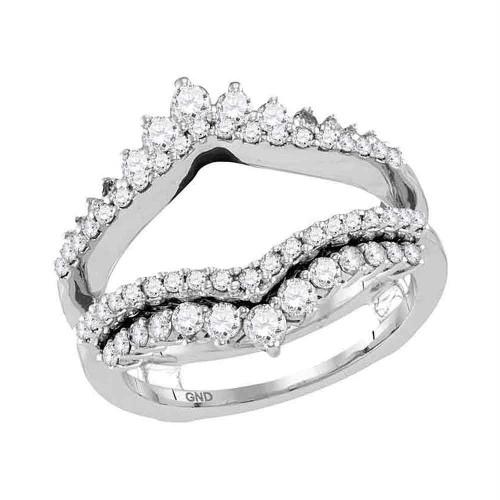14kt White Gold Womens Round Diamond Wrap Ring Guard Enhancer Wedding Band 1.00 Cttw