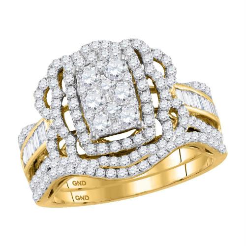14kt Yellow Gold Womens Round Diamond Bridal Wedding Engagement Ring Band Set 1-3/8 Cttw - 118182-5.5