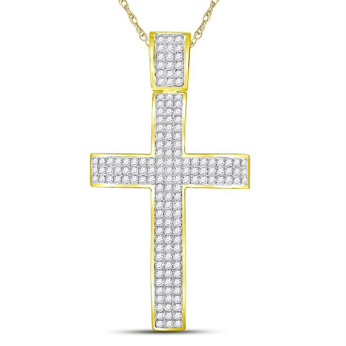 10kt Yellow Gold Mens Round Diamond Roman Cross Crucifix Charm Pendant 2-1/2 Cttw