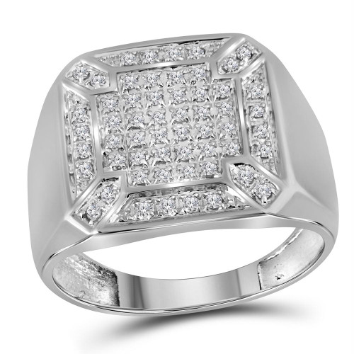 10kt White Gold Mens Round Diamond Square Cluster Ring 1/3 Cttw - 38143-9.5