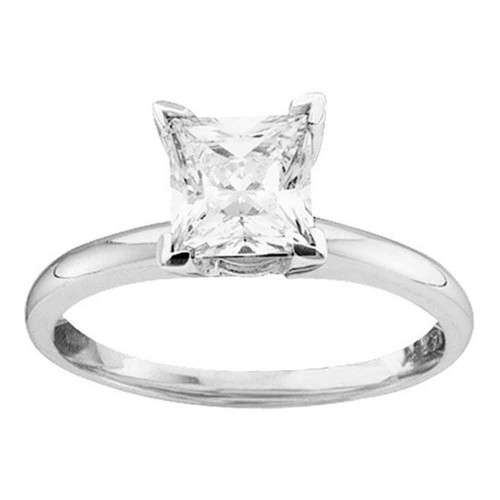 14kt White Gold Womens Princess Diamond Solitaire Bridal Wedding Engagement Ring 3/8 Cttw - 35772-9