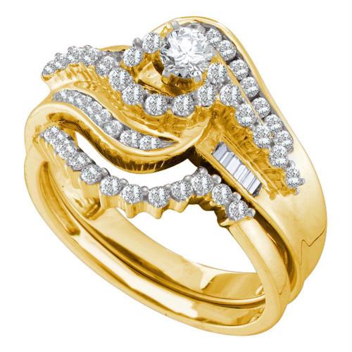 10kt Yellow Gold Womens Round Diamond Bridal Wedding Engagement Ring Band Set 1.00 Cttw