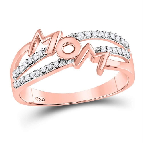 10kt Rose Gold Womens Round Diamond Mom Mother Band Ring 1/6 Cttw