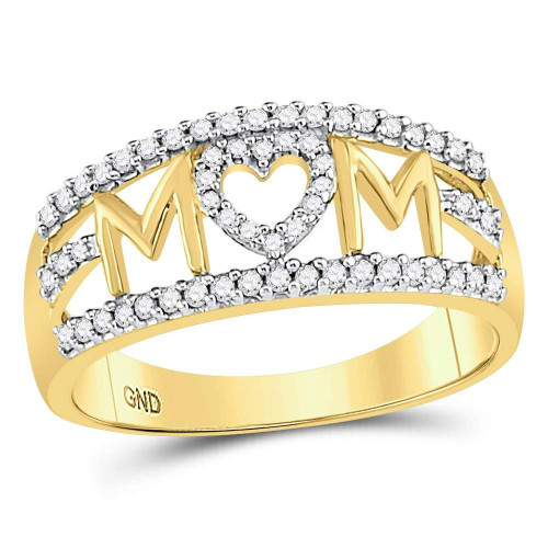 10kt Yellow Gold Womens Round Diamond Mom Mother Heart Band Ring 1/4 Cttw