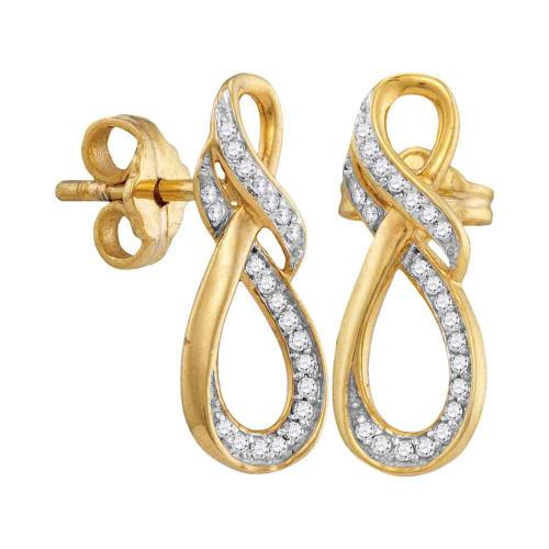 10kt Yellow Gold Womens Round Diamond Infinity Screwback Earrings 1/6 Cttw