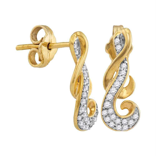 10kt Yellow Gold Womens Round Diamond Cluster Curled Screwback Earrings 1/6 Cttw