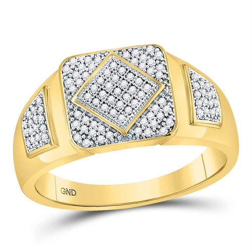 10kt Yellow Gold Mens Round Diamond Diagonal Square Cluster Ring 1/3 Cttw - 68619-11.5