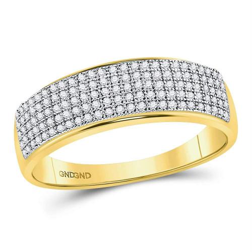 10kt Yellow Gold Mens Round Diamond Wedding Band Ring 3/8 Cttw - 50011