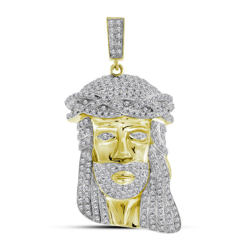 10kt Yellow Gold Mens Round Diamond Jesus Christ Face Charm Pendant 1-1/4 Cttw