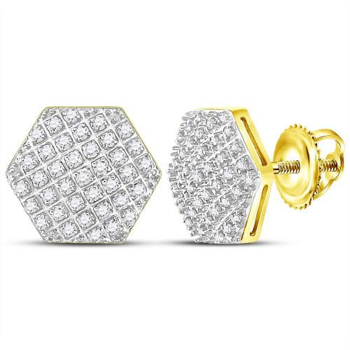 10kt Yellow Gold Mens Round Diamond Hexagon Cluster Stud Earrings 1/5 Cttw