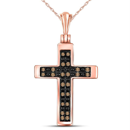 10kt Rose Gold Womens Round Brown Color Enhanced Diamond Cross Faith Pendant 1/8 Cttw