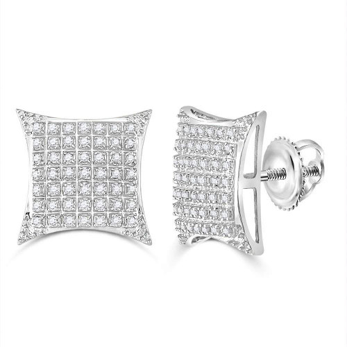 10kt White Gold Mens Round Diamond Square Kite Cluster Stud Earrings 1/3 Cttw