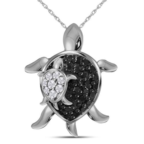 10kt White Gold Womens Round Black Color Enhanced Diamond Turtle Animal Pendant 1/8 Cttw