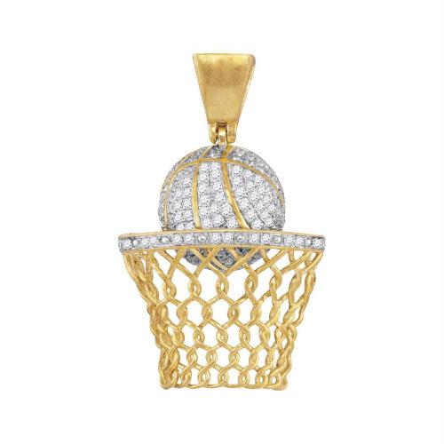 10kt Yellow Gold Mens Round Diamond Basketball Hoop Net Charm Pendant 3/4 Cttw