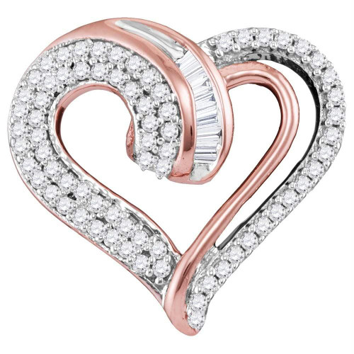 10kt Rose Gold Womens Round Diamond Curled Heart Pendant 1/4 Cttw