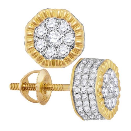 10kt Yellow Gold Mens Round Diamond 3D Milgrain Hexagon Cluster Stud Earrings 3/8 Cttw