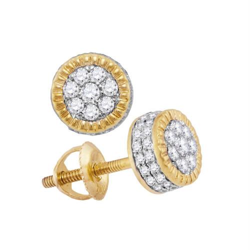 10kt Yellow Gold Mens Round Diamond 3D Milgrain Cluster Stud Earrings 3/8 Cttw