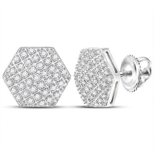 10kt White Gold Mens Round Diamond Hexagon Cluster Stud Earrings 1/5 Cttw
