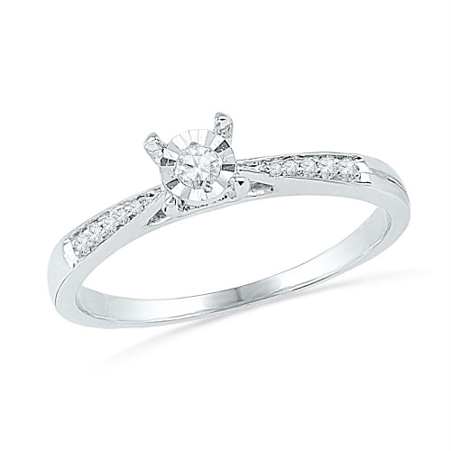 10kt White Gold Womens Round Diamond Solitaire Bridal Wedding Engagement Ring 1/10 Cttw - 100571-10
