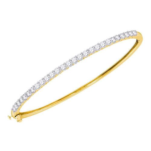 14kt Yellow Gold Womens Round Diamond Single Row Bangle Bracelet 2.00 Cttw